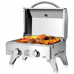 Goplus 2 Burner Portable Stainless BBQ Table Top Propane Gas