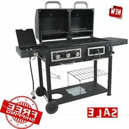 2-In-1 Charcoal and Gas Grill w Dual Fuel Combination Cast I