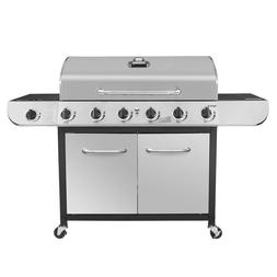 6 Burner Propane Gas Grill in Stainless Steel with Sear Burn