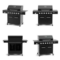Deluxe 6-Burner Propane Gas Grill In Black With Side Burner