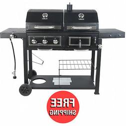 Dual Fuel Gas Charcoal Combo Grill Cast iron Outdoor Patio B