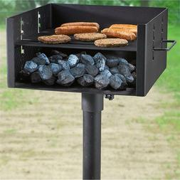 XL Heavy Duty Single Post Park Style Grill Charcoal BBQ Outd