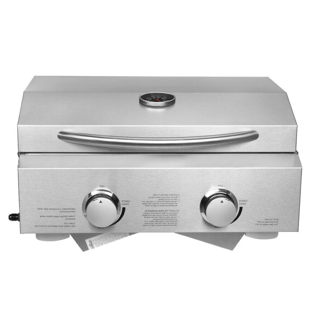 2-Burner Stainless Tabletop Grill Camping