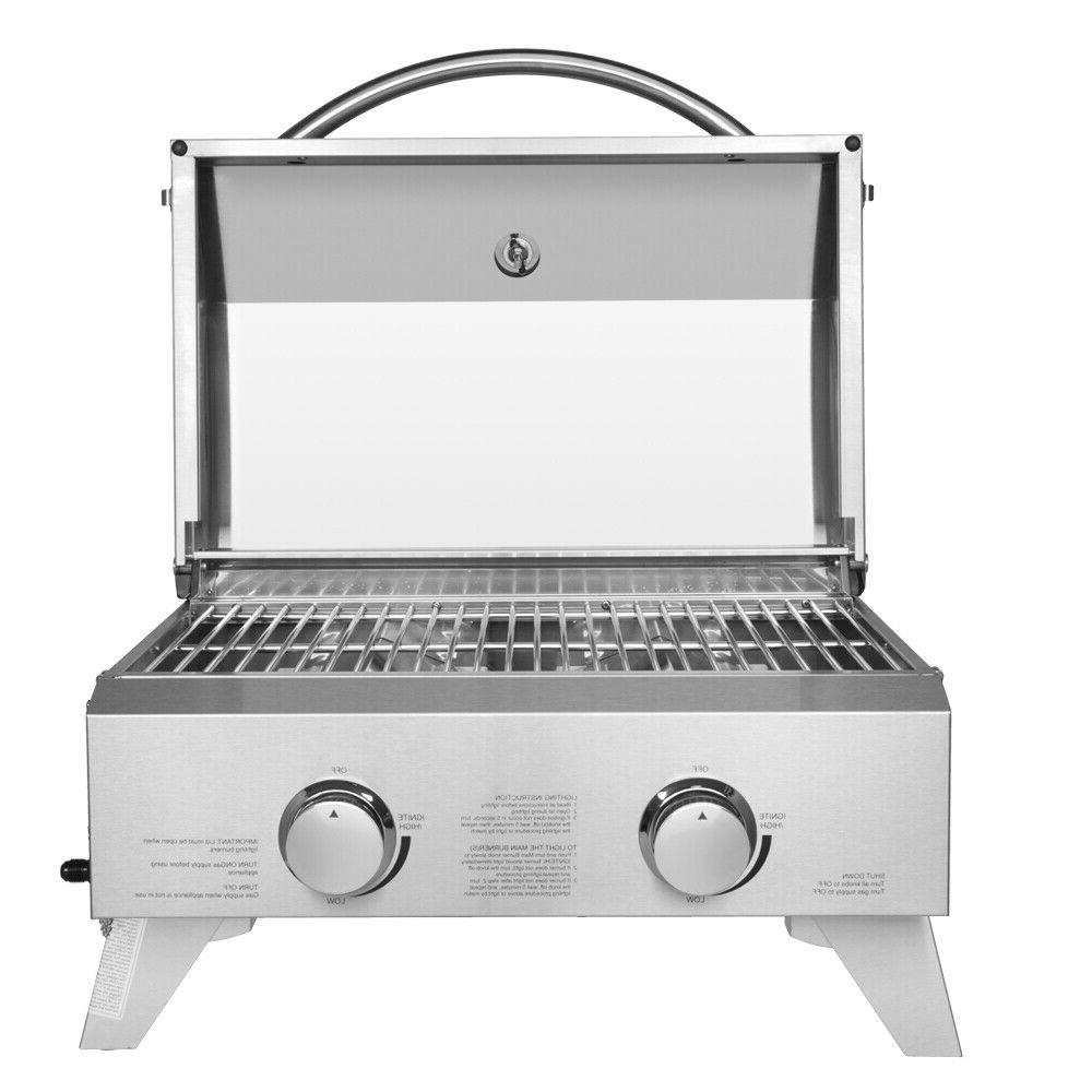 2-Burner Stainless Tabletop Gas Camping BBQ