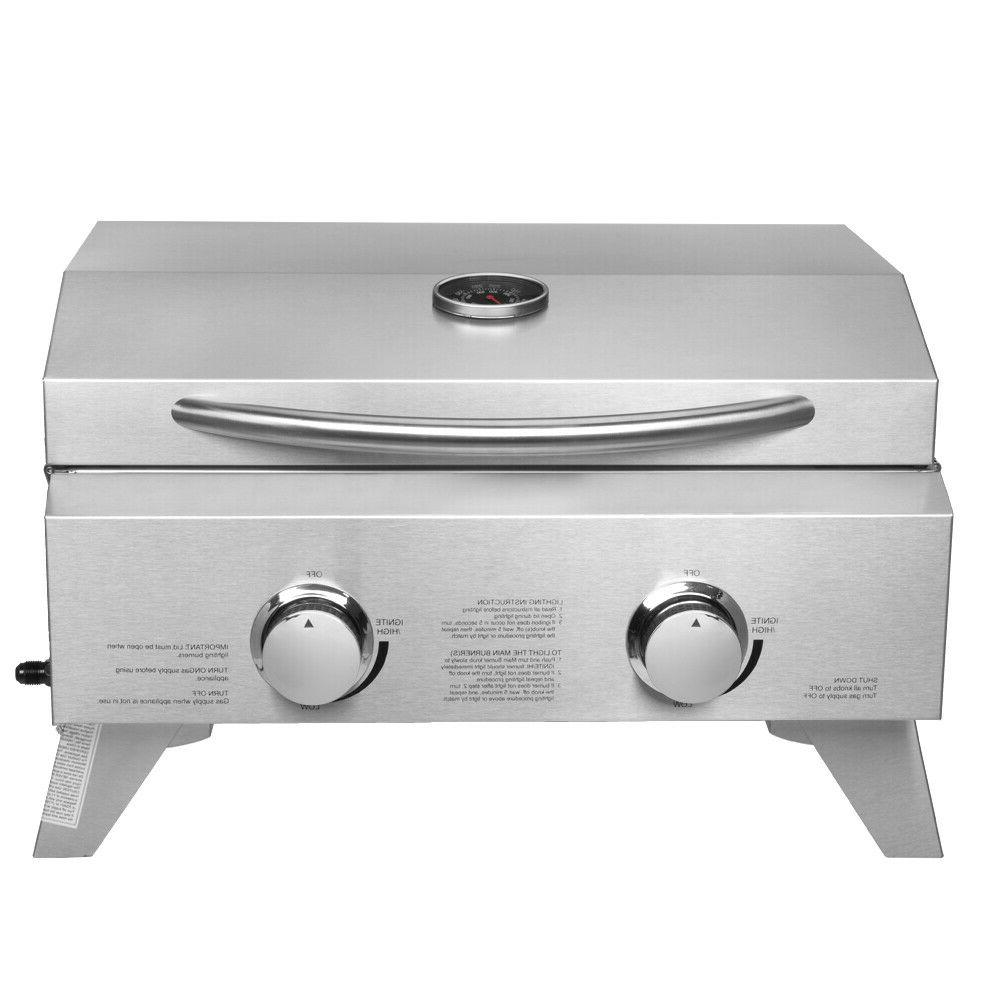 2-Burner Steel Tabletop Gas Grill Camping Picnic