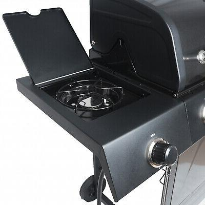 4+1 Black Stainless Steel Gas Grill Backyard BBQ Cooking