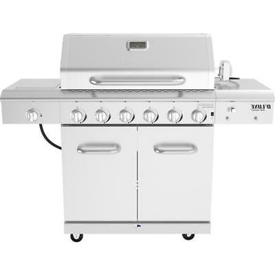 6 burner propane gas grill in stainless