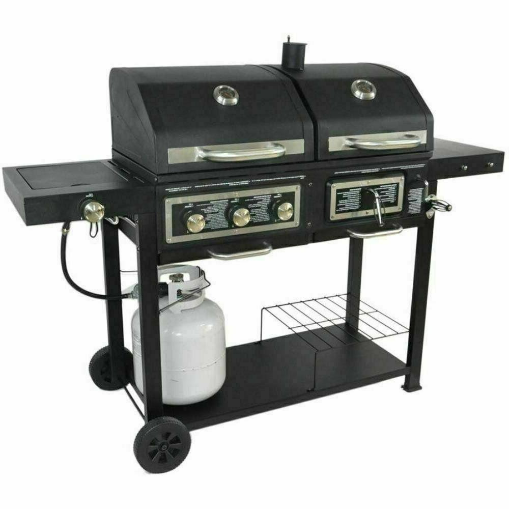 Dual Fuel Combination Charcoal/Gas Grill Outdoor Cooking BBQ