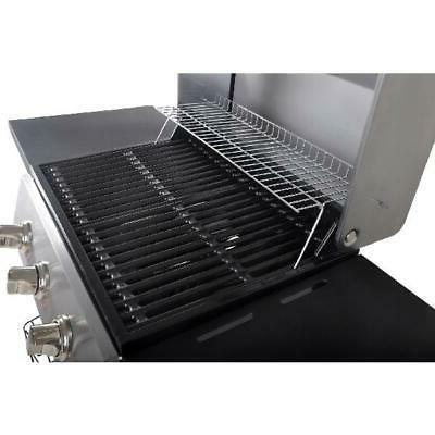 Gas Grill BBQ Propane 3-Burner Steel Outdoor Cooking