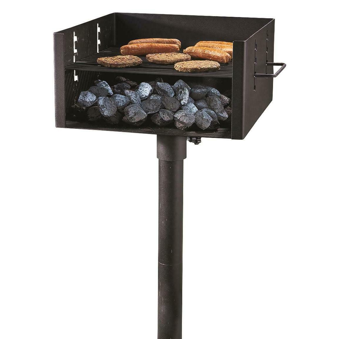 Large Heavy Duty Single Post Park Style Grill Charcoal For O