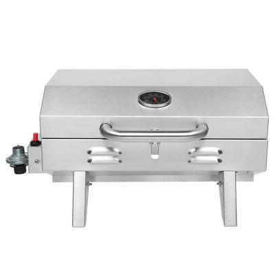 Outdoor Tabletop Steel Propane Grill Portable Two-Burner BBQ