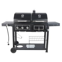 Dual Fuel Combo Gas Charcoal Grill Outdoor Propane BBQ Cast