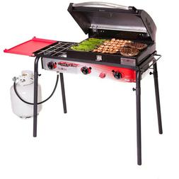 Portable Propane Gas Grill in Red Big Gas 3 Burner Tailgatin
