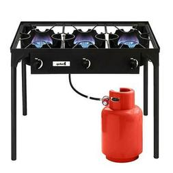Propane 225000BTU Double 3 Burner Gas Cooker Stand Stove Out