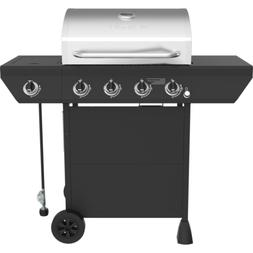 4-Burner Propane Gas Grill in Black with Side Burner and Sta