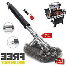 """17"""" Stainless Steel BBQ Grill Brush Cleaner Woven Wire Barbe"""